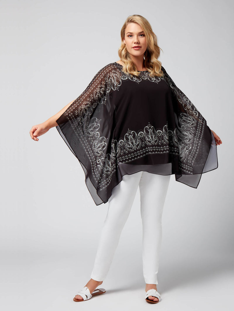 Black Paisley Border Kimono - Live Unlimited London