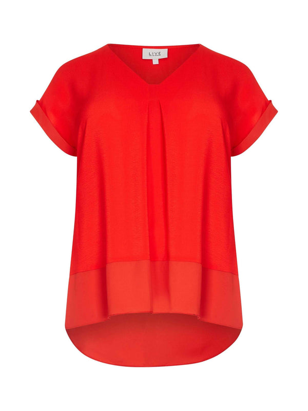 Red Morocain Blouse with Chiffon Hem - Live Unlimited London