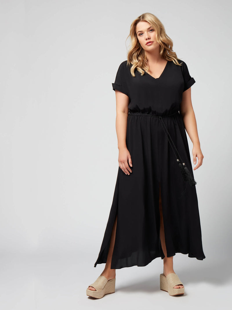 Morocain V Neck Maxi Dress - Live Unlimited London