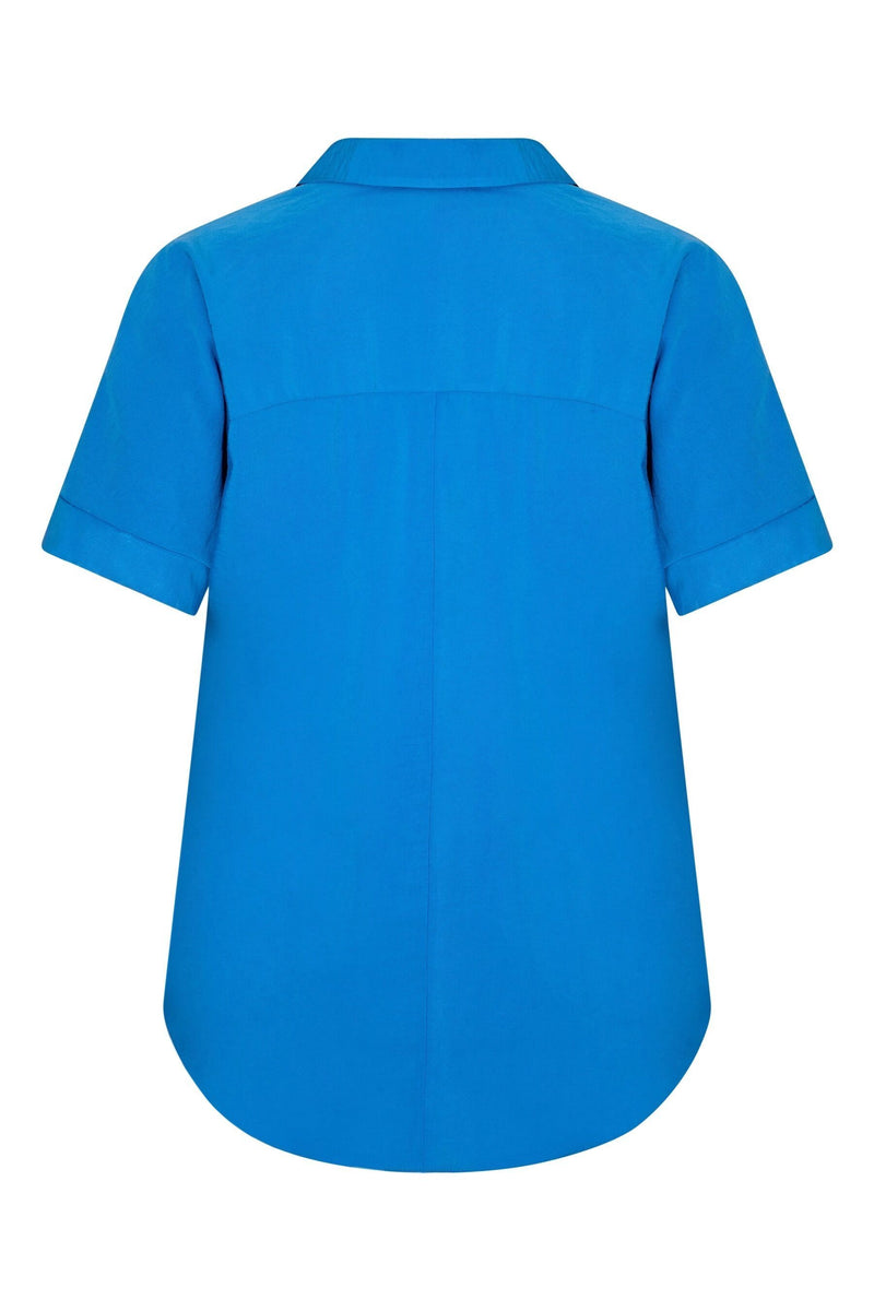 Blue High Low Hem Luxe Fabric Blouse - Live Unlimited London