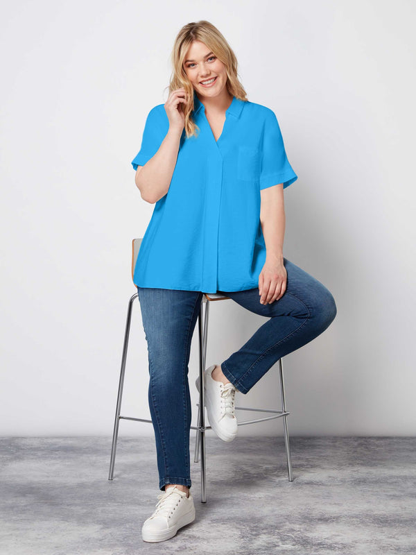 Blue High Low Hem Luxe Fabric Blouse