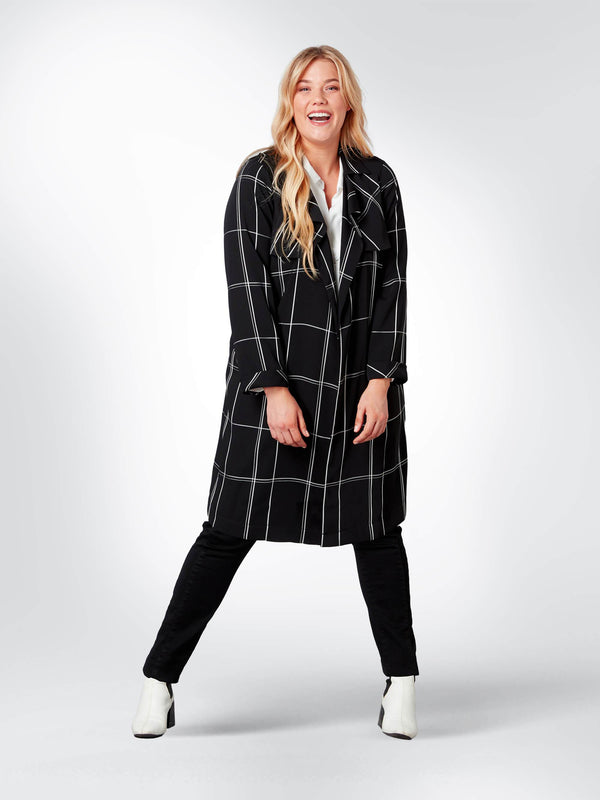 Black and White Checked Trench Coat
