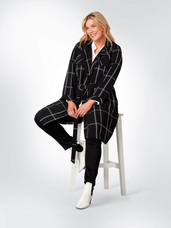 Black and White Checked Trench Coat - Live Unlimited London