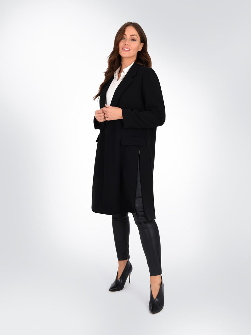 Longline Black Tailored Jacket with Side Splits
