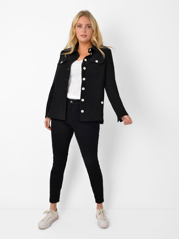 Black Tailored Jacket with Stitch Detail and Contrast Buttons