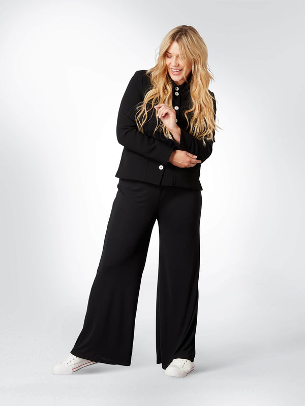 Black Wide Leg Trouser - Live Unlimited London