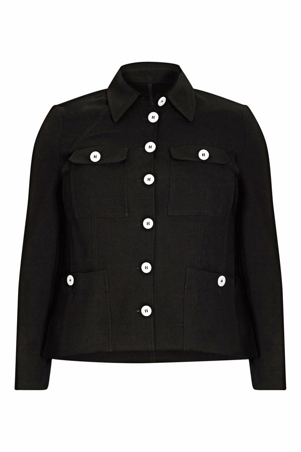 Black Tailored Jacket with Stitch Detail and Contrast Buttons - Live Unlimited London