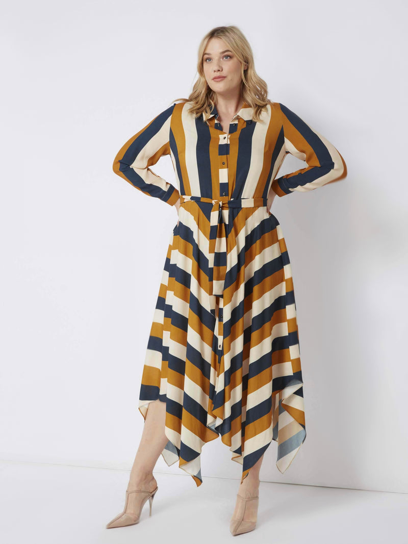 Hanky Hem Striped Shirt Dress