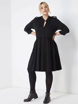 Dropped Waist Dress with Epaulette Detail