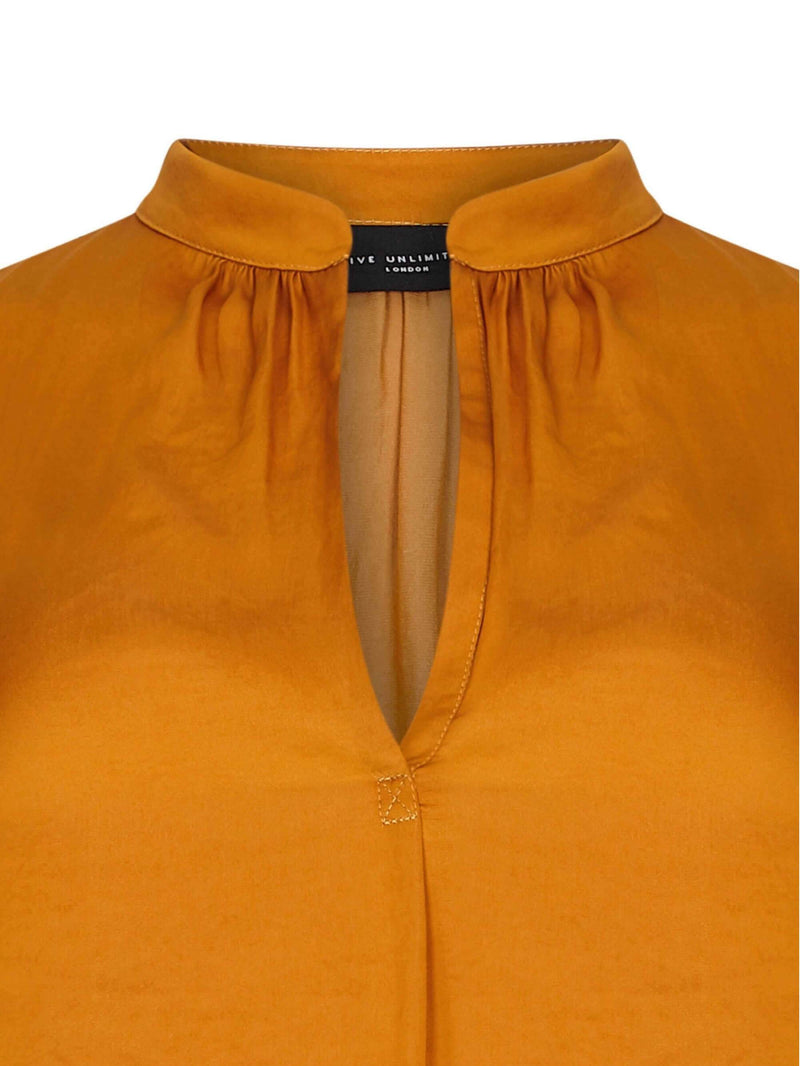Satin Shirt with Gathered Neck Detail