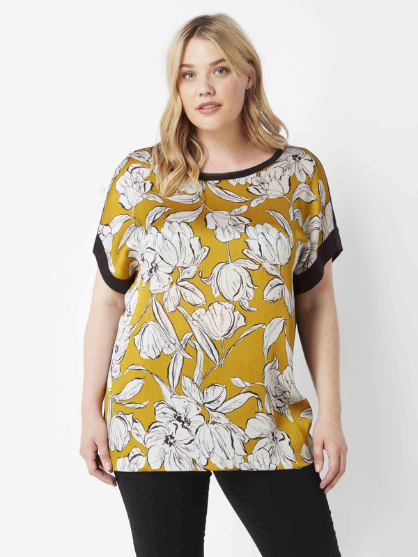 Floral Satin Tee with Jersey Back