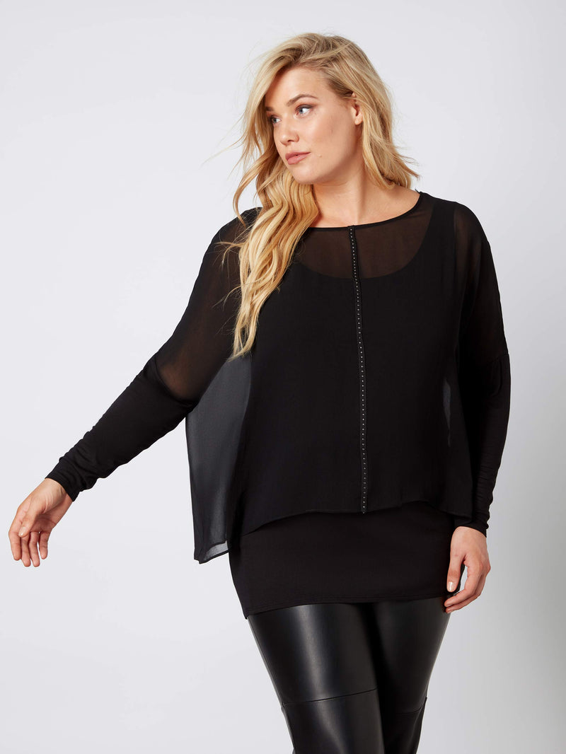 Black Studded Chiffon Overlay Top