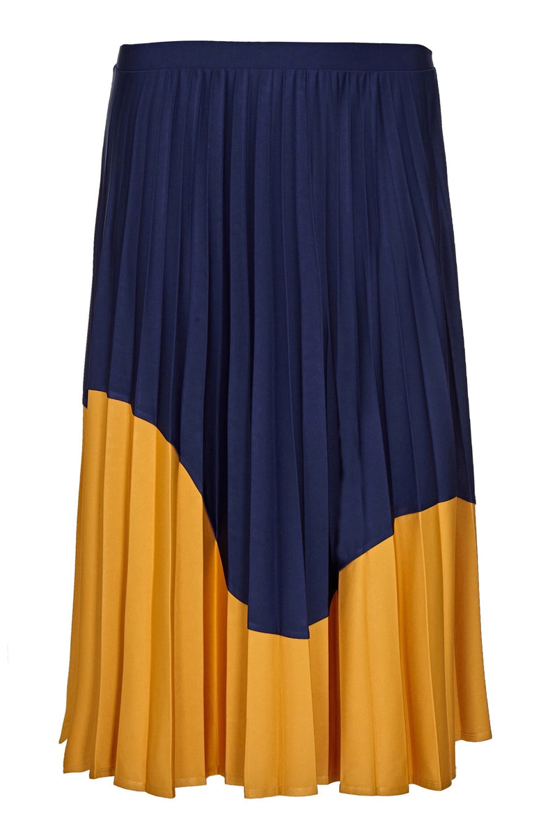 Colour Blocked Jersey Pleated Skirt - Live Unlimited London