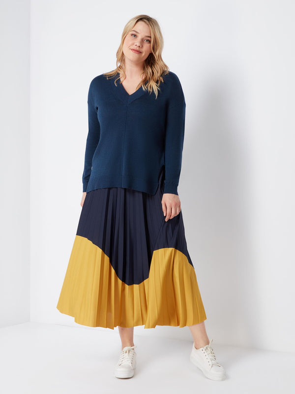 Colour Blocked Jersey Pleated Skirt