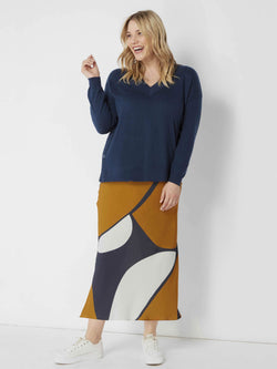 Abstract Circle Print Bias Skirt