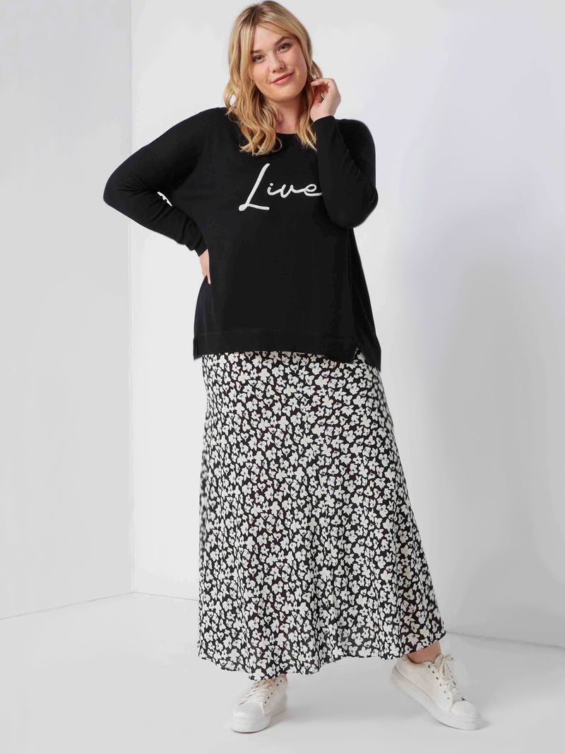 Printed Bias Swing Skirt - Live Unlimited London