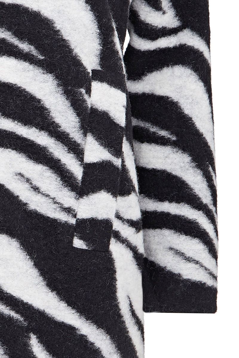 Zebra Printed Wool Mix Lined Coat
