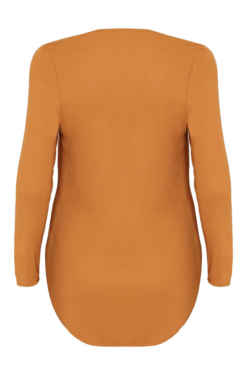 Mustard French Crepe Wrap Top - Live Unlimited London