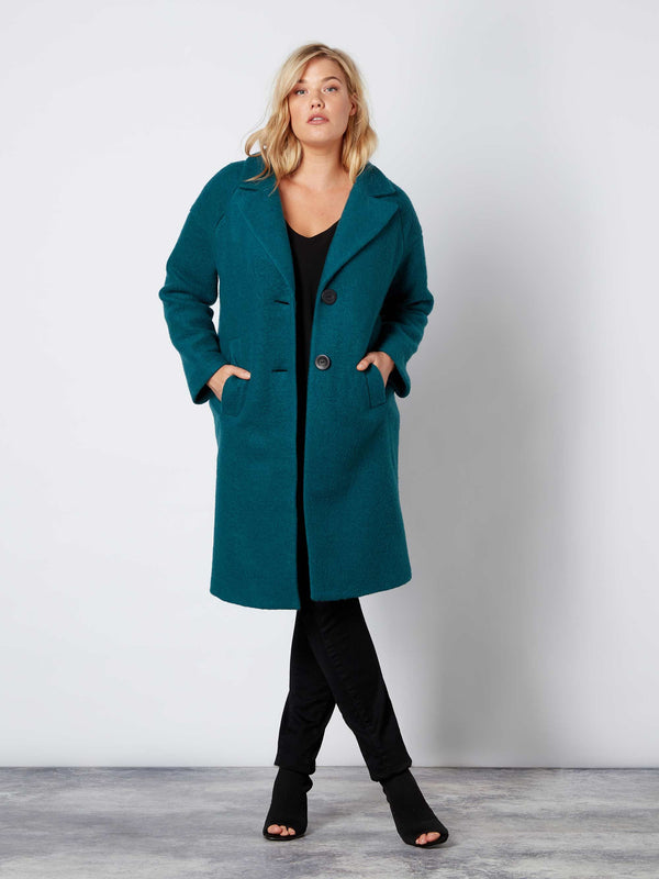 Teal Wool Mix Lined Coat