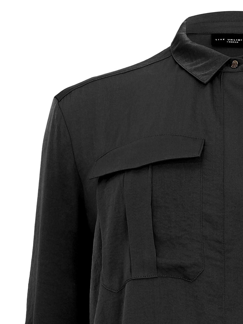 Military Detailed Hammered Satin Shirt