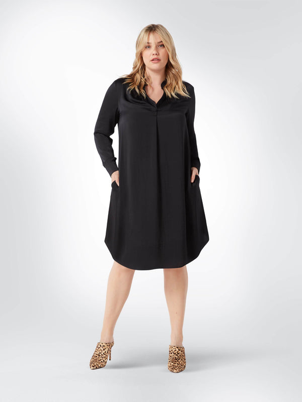 Black Gathered Neck Detail Dress