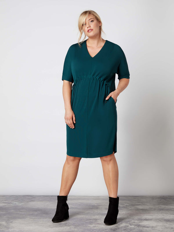 French Crepe Jersey Waisted Detailed Dress - Live Unlimited London