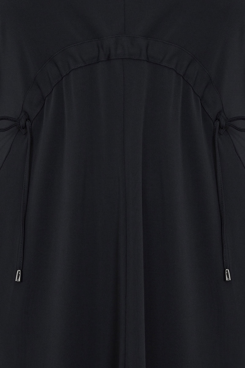 Black French Crepe Jersey Waist Detail Dress