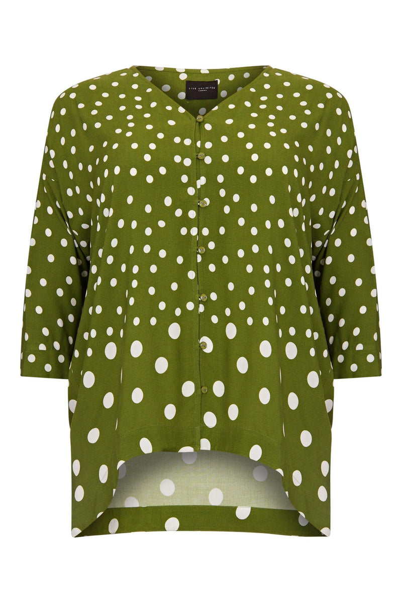 Green & White Graduated Spot Blouse