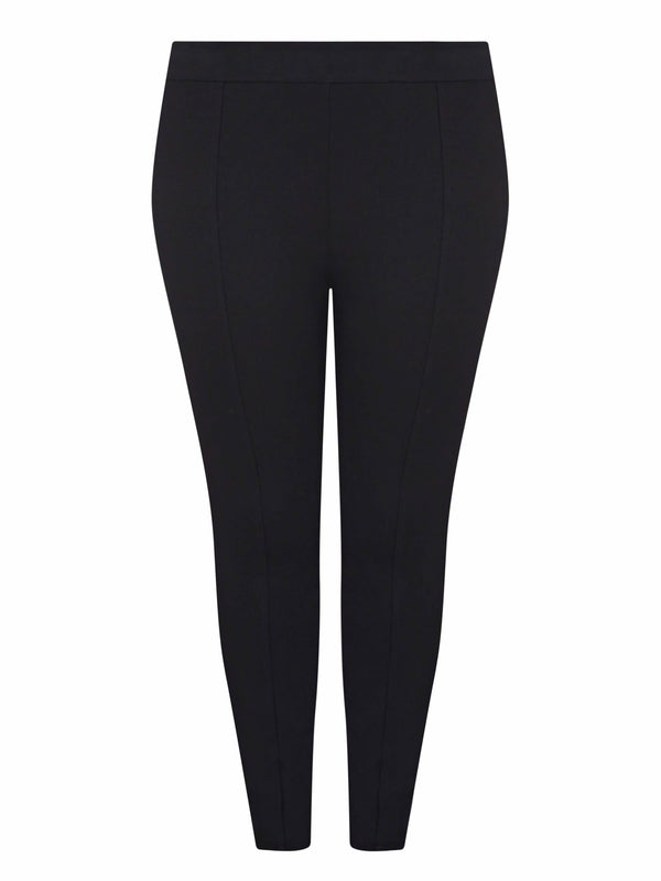 Black Ponte Stitch Detail Legging - Live Unlimited London