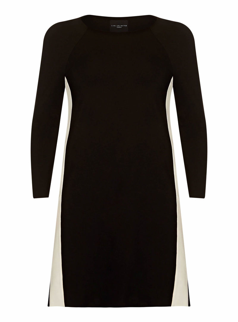 Black Panelled Ponte Dress - Live Unlimited London
