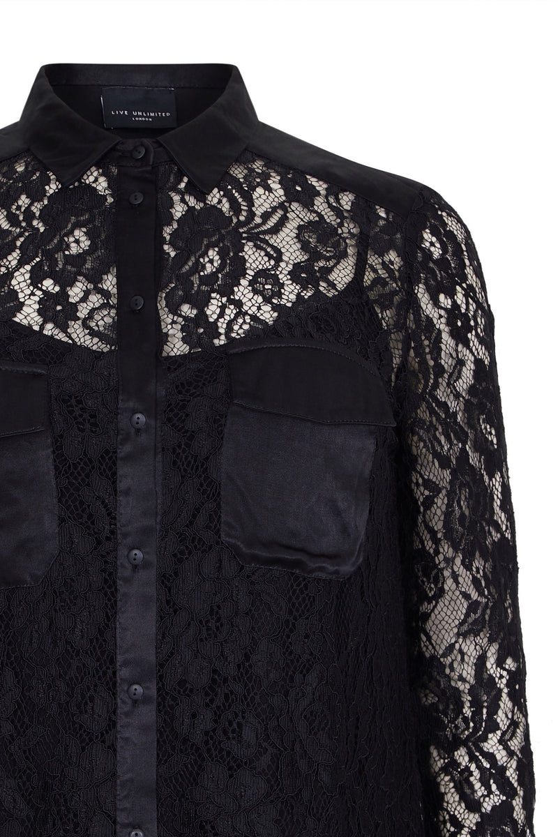 Lace Shirt With Satin