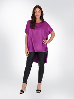 Magenta Satin Top With Long Split Back