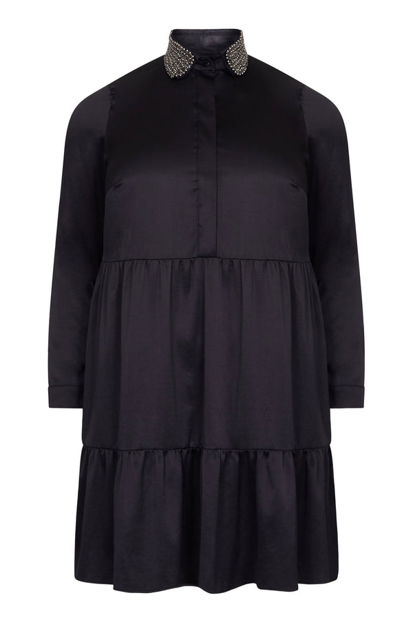 Black Tiered Dress with Trim Collar