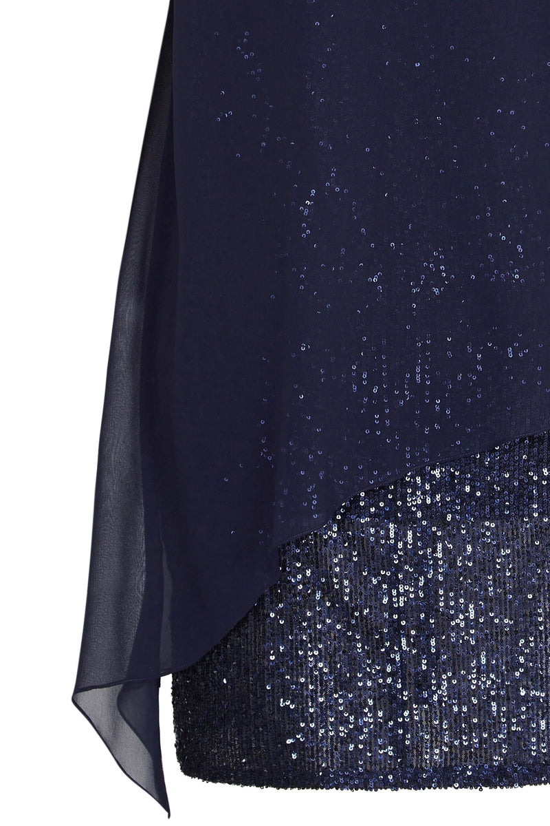 Navy Overlayer Sequin Dress