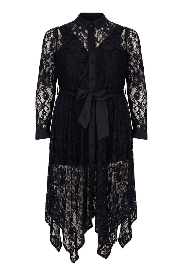 Lace Hanky Hem Shirt Dress