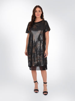 Bronze Sequin Dress with Chiffon Hem