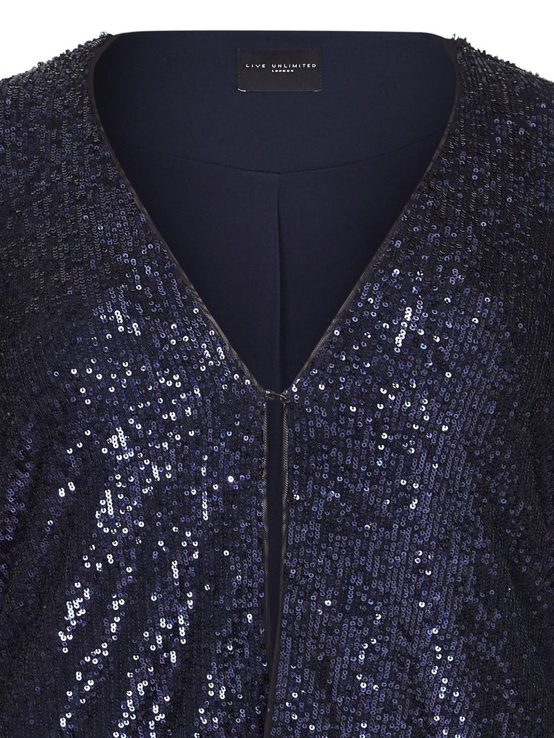 Edge To Edge Sequin Throw On Jacket - Live Unlimited London