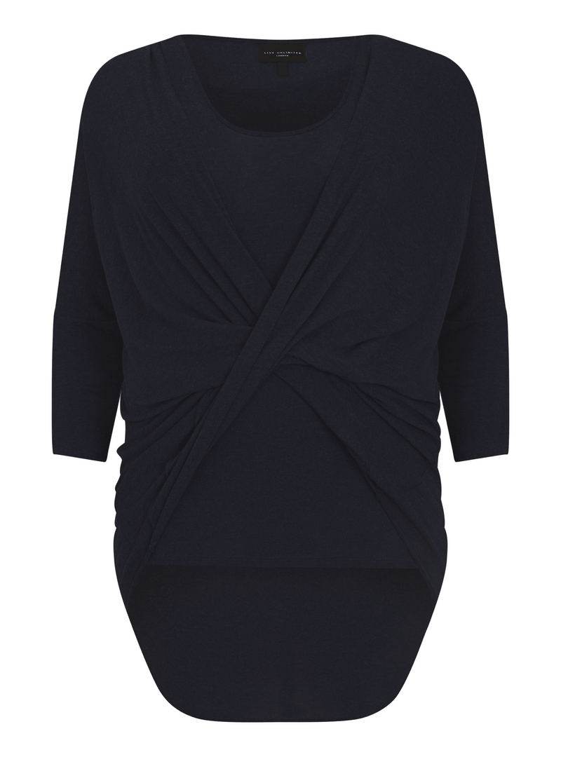 Wrap Twist Front Knitted Top - Live Unlimited London