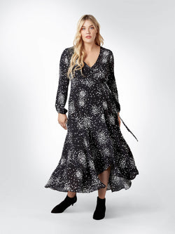 Black Spotted Jersey Wrap Dress - Live Unlimited London