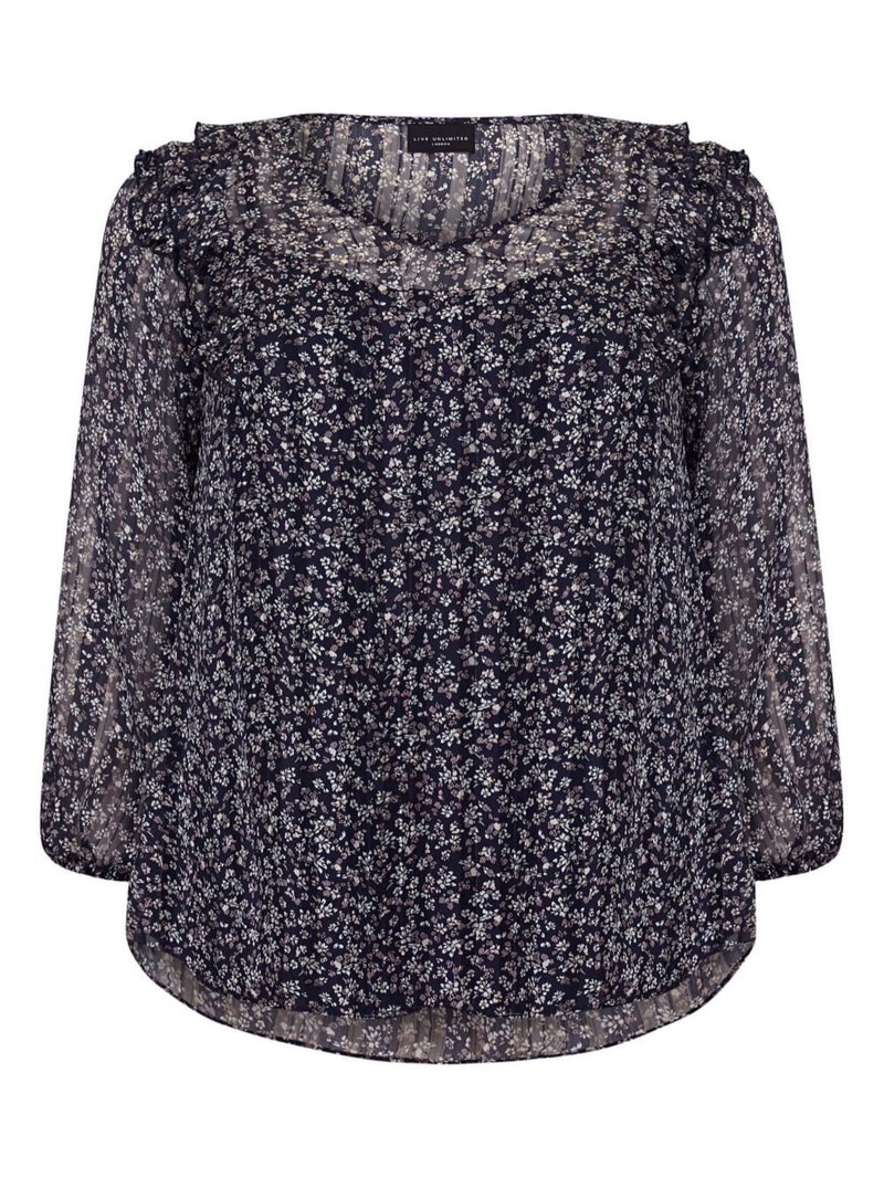 Navy Ditsy Blouse - Live Unlimited London