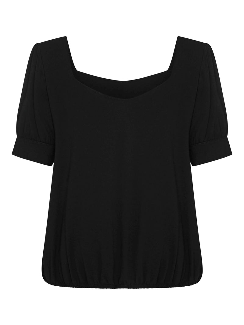 Jersey Square Neck Top With Blouson Hem - Live Unlimited London