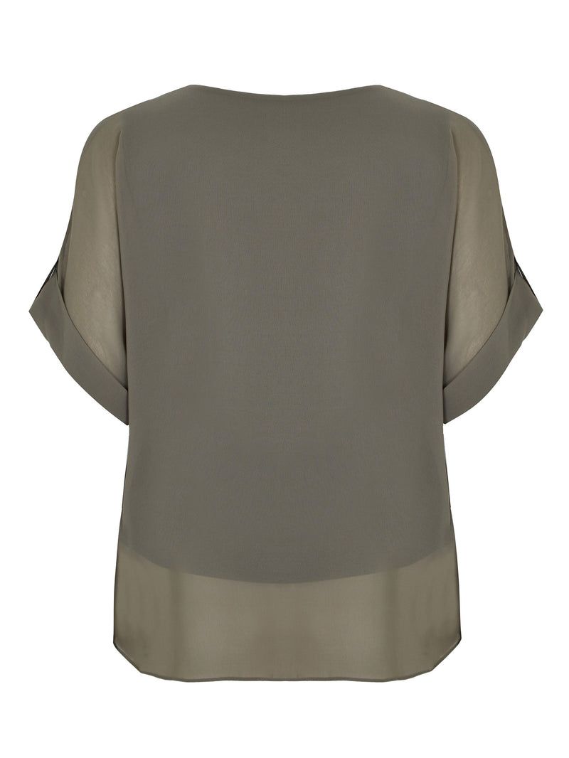 Tab Sleeve Overlay Top