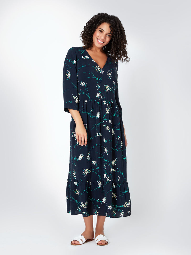 V Neck Tiered Midi Dress - Live Unlimited London