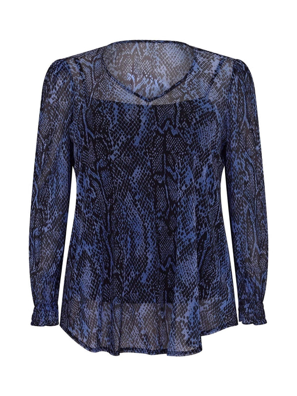 Cornflower Blue Snake Mesh Top