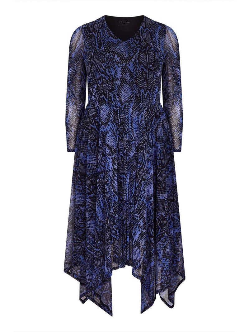 Cornflower Blue Snake Skin Mesh Dress - Live Unlimited London