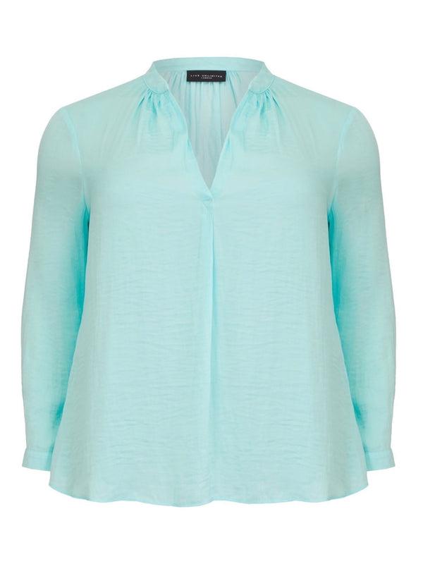 Satin Blouse with Gathered Neck Detail