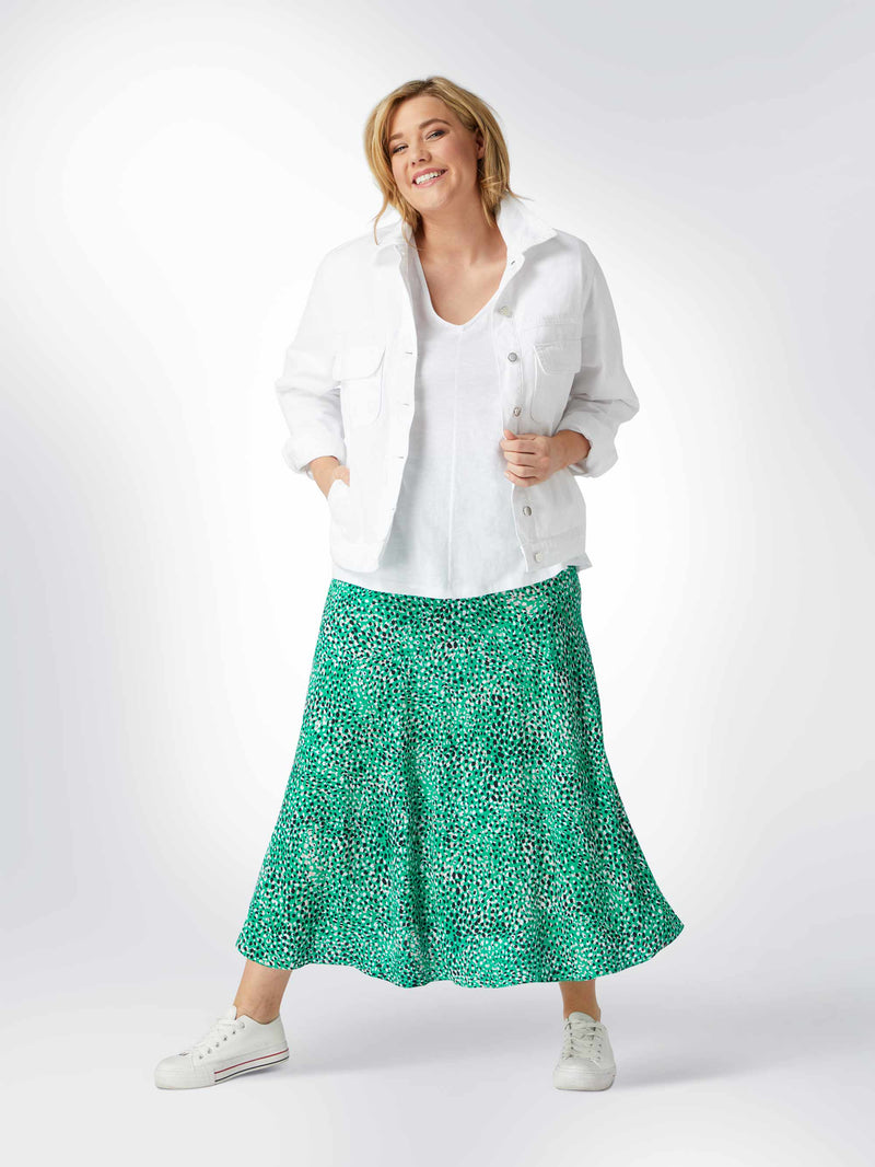 Printed Viscose Morrocain Bias Skirt