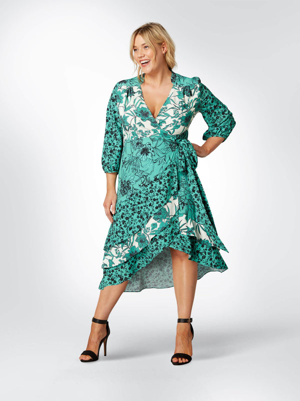 Mixed Floral Ruffle Wrap Dress