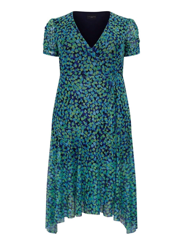Aqua Green Print Mesh Wrap Dress