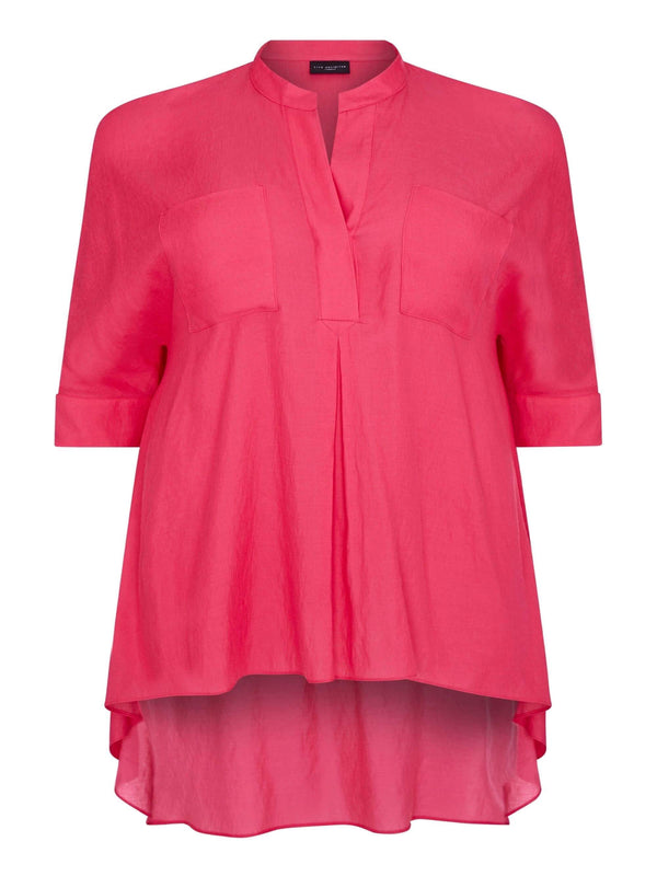 Hi Lo Pocket Detail Shirt Pink